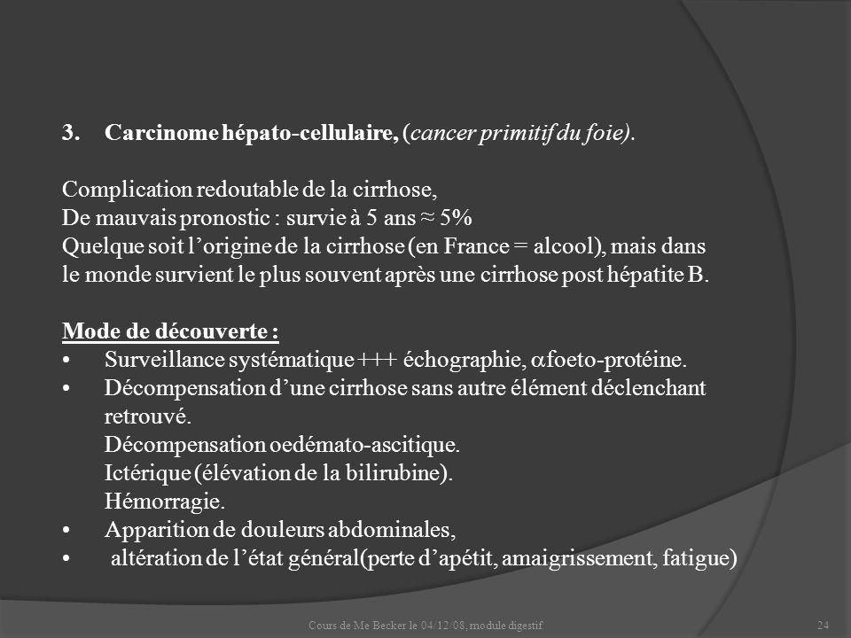 Cours de Me Becker le 04/12/08, module digestif24 3.Carcinome hépato-cellulaire, (cancer primitif du foie). Complication redoutable de la cirrhose, De