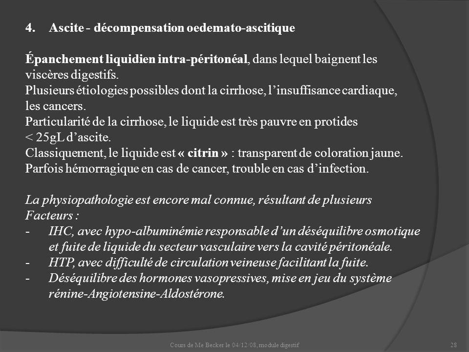 Cours de Me Becker le 04/12/08, module digestif28 4.Ascite - décompensation oedemato-ascitique Épanchement liquidien intra-péritonéal, dans lequel bai