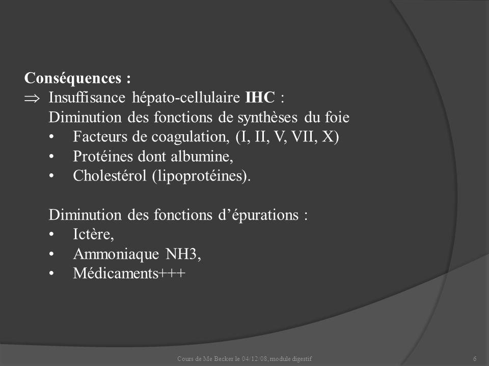 6 Conséquences : Insuffisance hépato-cellulaire IHC : Diminution des fonctions de synthèses du foie Facteurs de coagulation, (I, II, V, VII, X) Protéi
