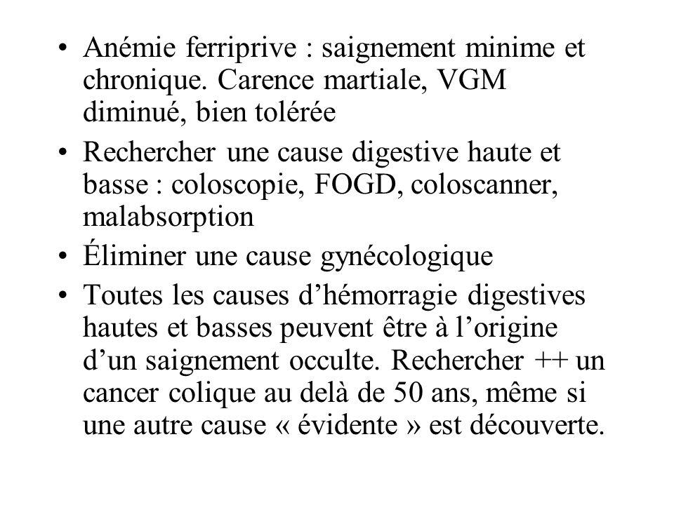 Anémie ferriprive : saignement minime et chronique. Carence martiale, VGM diminué, bien tolérée Rechercher une cause digestive haute et basse : colosc