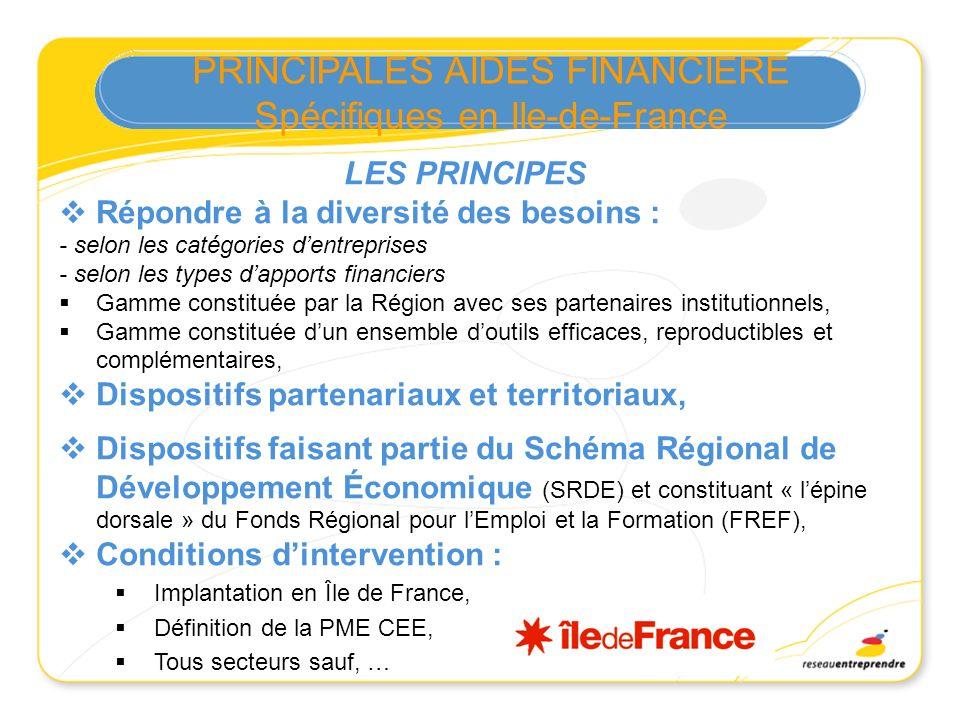 PRINCIPALES AIDES FINANCIERE Spécifiques en Ile-de-France LES PRINCIPES Répondre à la diversité des besoins : - selon les catégories dentreprises - se