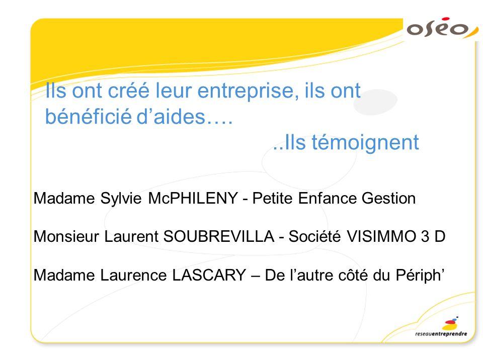 Ils ont créé leur entreprise, ils ont bénéficié daides…...Ils témoignent Madame Sylvie McPHILENY - Petite Enfance Gestion Monsieur Laurent SOUBREVILLA