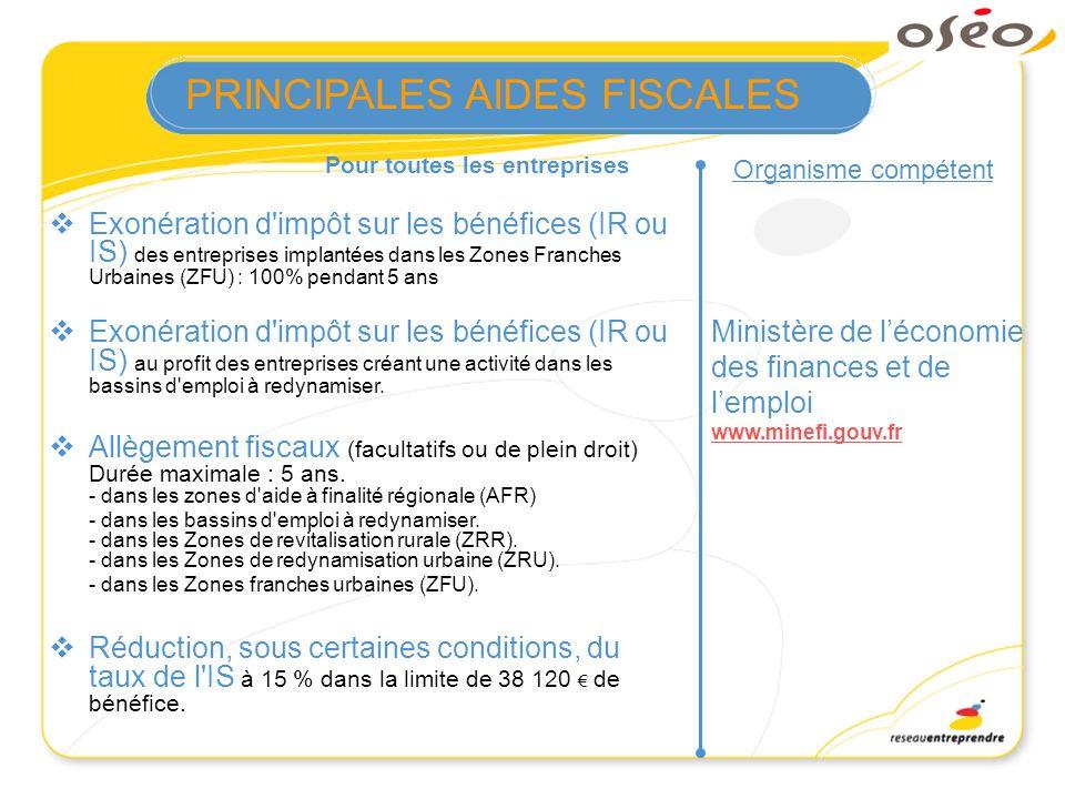 Pour toutes les entreprises Organisme compétent Ministère de léconomie des finances et de lemploi www.minefi.gouv.fr Exonération d'impôt sur les bénéf