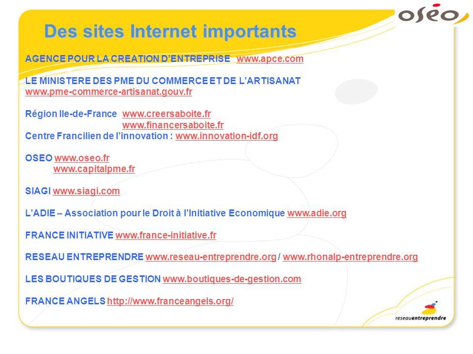 Des sites Internet importants AGENCE POUR LA CREATION DENTREPRISE www.apce.comwww.apce.com LE MINISTERE DES PME DU COMMERCE ET DE LARTISANAT www.pme-c