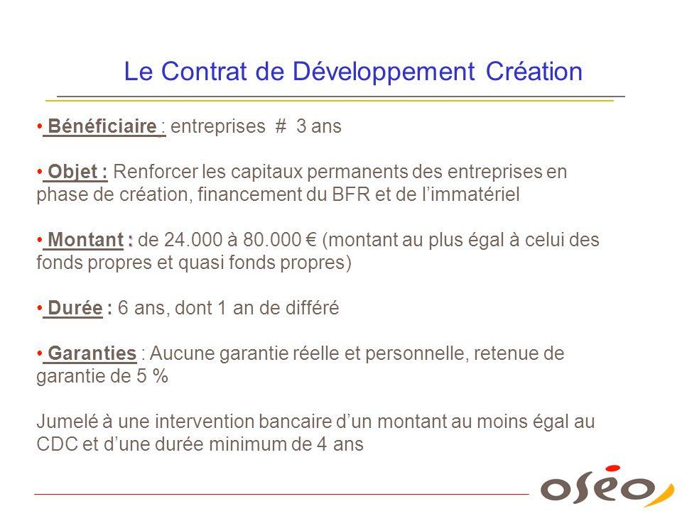 Le Contrat de Développement Création Bénéficiaire : entreprises # 3 ans Objet : Renforcer les capitaux permanents des entreprises en phase de création