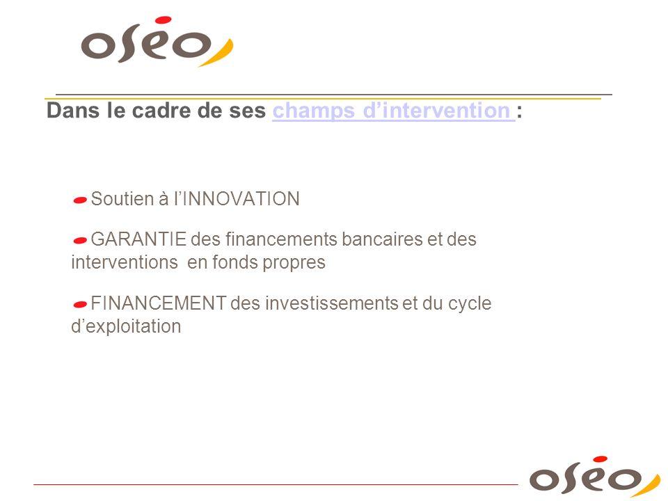 Soutien à lINNOVATION GARANTIE des financements bancaires et des interventions en fonds propres FINANCEMENT des investissements et du cycle dexploitat