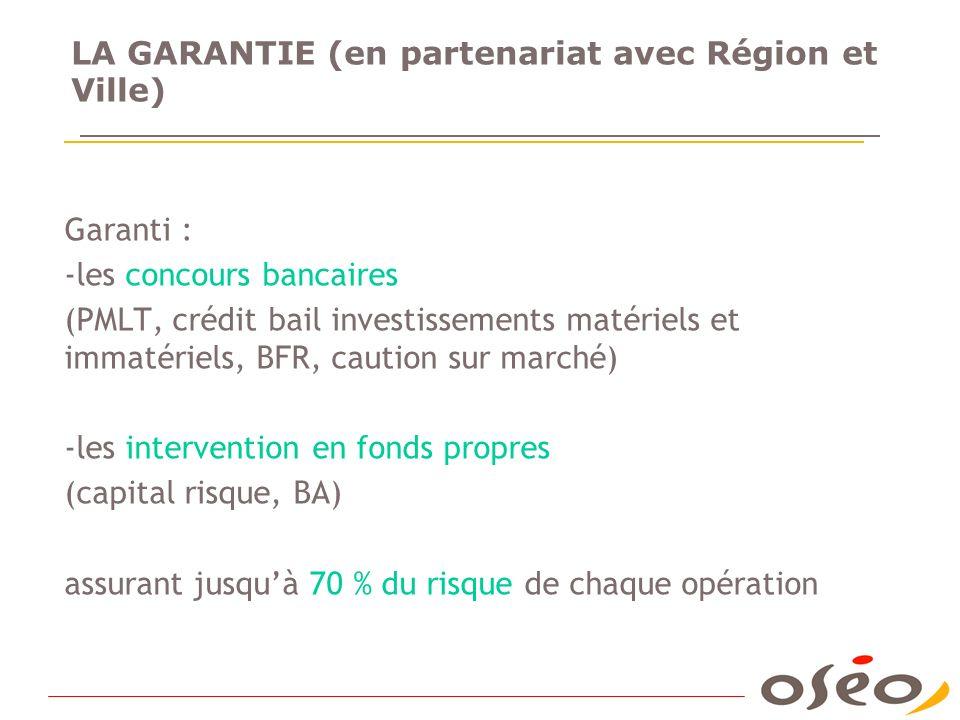 LA GARANTIE (en partenariat avec Région et Ville) Garanti : -les concours bancaires (PMLT, crédit bail investissements matériels et immatériels, BFR,