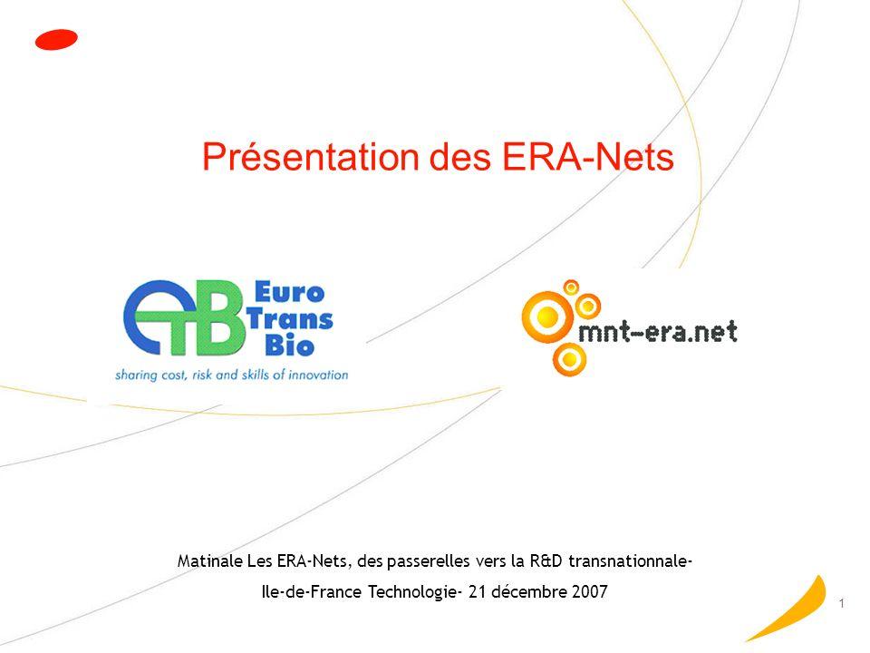 2 Les ERA-Nets- le principe (1/2) Actions de coopération au niveau Européen Entre des programmes de financement nationaux Objectif long terme Construire un programme transnational pérenne pour le soutien de projets de RDT Appels à projets pilotes Projets transnationaux de RDT (AAP thématiques, Approche Bottum-up)