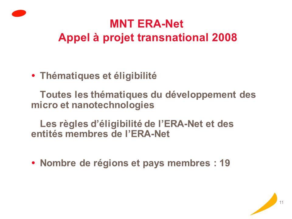 11 MNT ERA-Net Appel à projet transnational 2008 Thématiques et éligibilité Toutes les thématiques du développement des micro et nanotechnologies Les règles déligibilité de lERA-Net et des entités membres de lERA-Net Nombre de régions et pays membres : 19