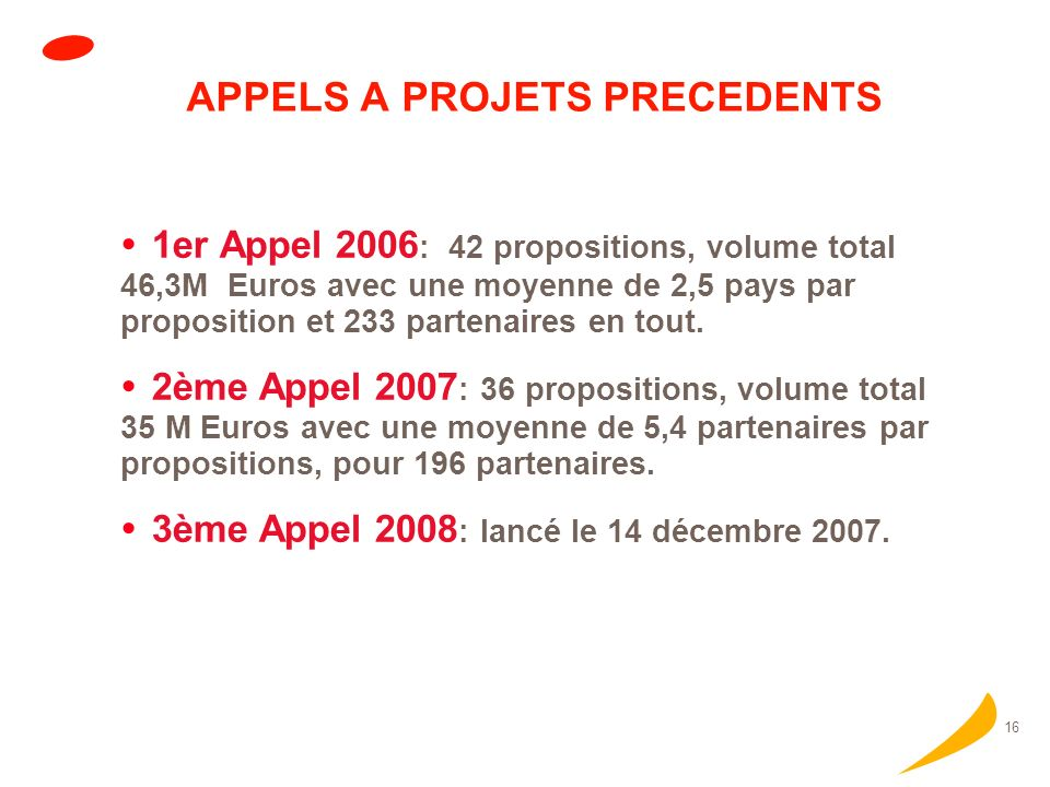 16 APPELS A PROJETS PRECEDENTS 1er Appel 2006 : 42 propositions, volume total 46,3M Euros avec une moyenne de 2,5 pays par proposition et 233 partenaires en tout.