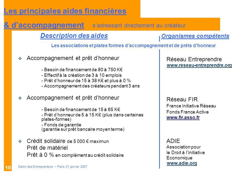 Description des aides Organismes compétents Salon des Entrepreneurs – Paris 31 janvier 2007 10 Réseau Entreprendre www.reseau-entreprendre.org Réseau