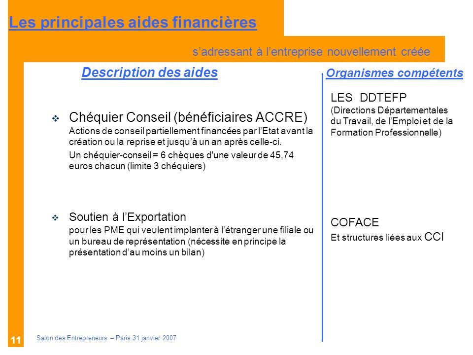 Description des aides Organismes compétents Salon des Entrepreneurs – Paris 31 janvier 2007 11 Chéquier Conseil (bénéficiaires ACCRE) Actions de conse