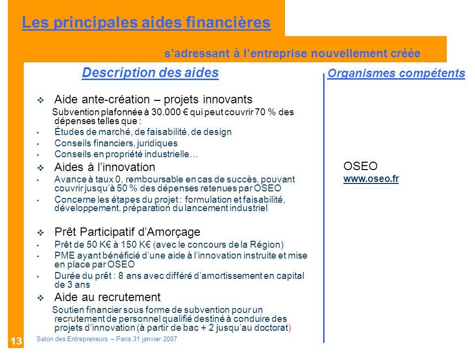 Description des aides Organismes compétents Salon des Entrepreneurs – Paris 31 janvier 2007 13 Aide ante-création – projets innovants Subvention plafo