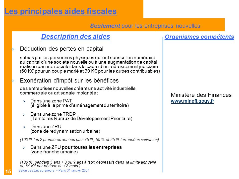 Description des aides Organismes compétents Salon des Entrepreneurs – Paris 31 janvier 2007 15 Ministère des Finances www.minefi.gouv.fr Déduction des