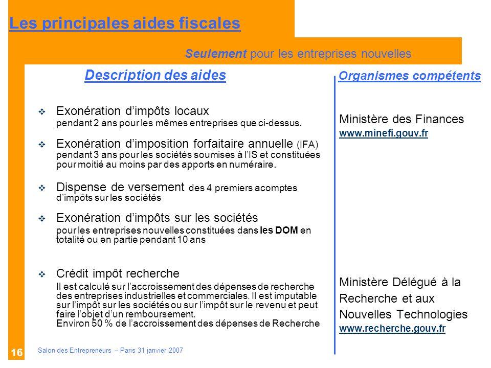 Description des aides Organismes compétents Salon des Entrepreneurs – Paris 31 janvier 2007 16 Ministère des Finances www.minefi.gouv.fr Ministère Dél