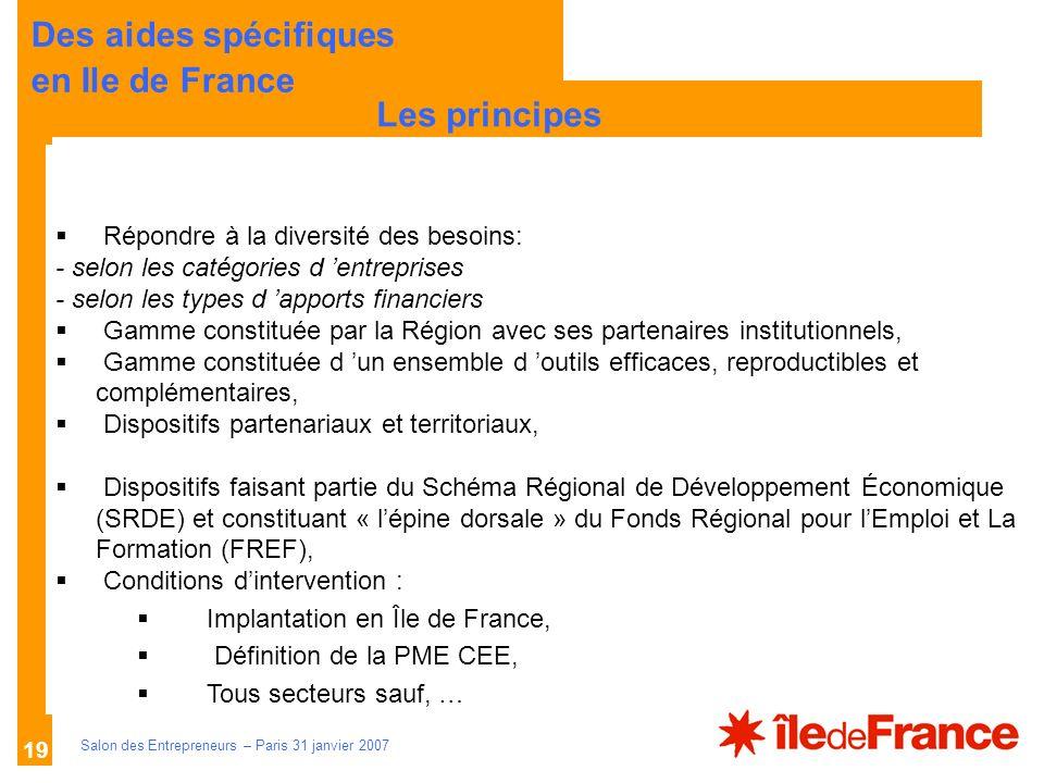 Description des aides Organismes compétents Salon des Entrepreneurs – Paris 31 janvier 2007 19 LES PRINCIPES Répondre à la diversité des besoins: - se