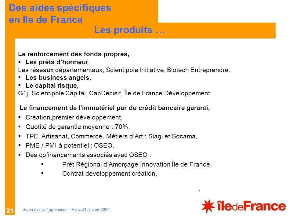 Description des aides Organismes compétents Salon des Entrepreneurs – Paris 31 janvier 2007 21 LES PRINCIPES Les produits … Des aides spécifiques en I