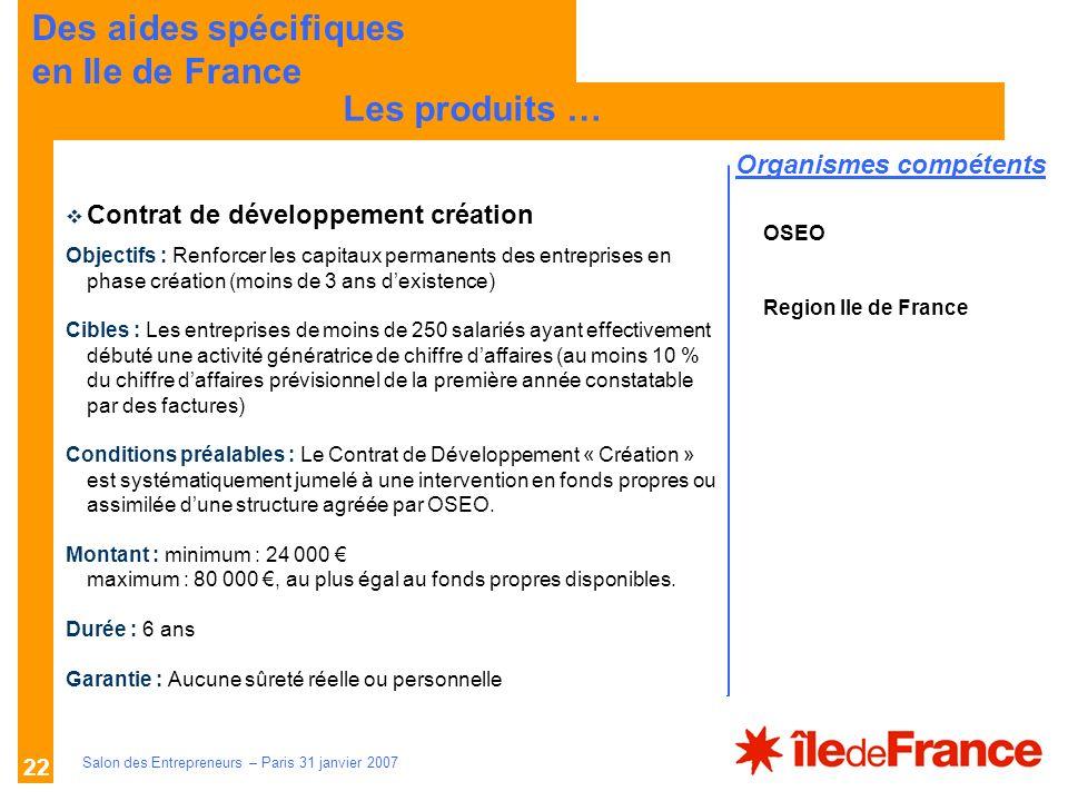 Description des aides Organismes compétents Salon des Entrepreneurs – Paris 31 janvier 2007 22 LES PRINCIPES Les produits … Des aides spécifiques en I