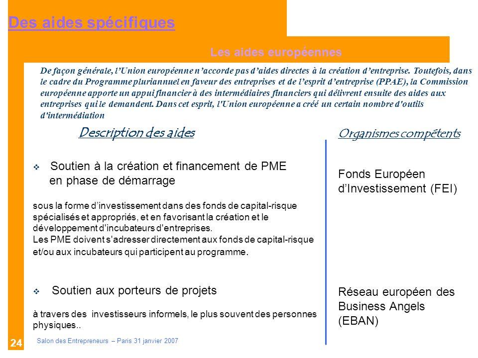 Description des aides Organismes compétents Salon des Entrepreneurs – Paris 31 janvier 2007 24 Les aides européennes Fonds Européen dInvestissement (F