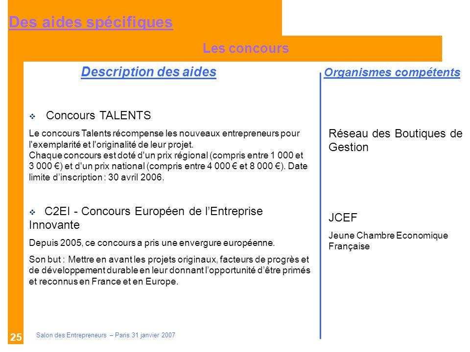 Description des aides Organismes compétents Salon des Entrepreneurs – Paris 31 janvier 2007 25 Les concours Réseau des Boutiques de Gestion JCEF Jeune