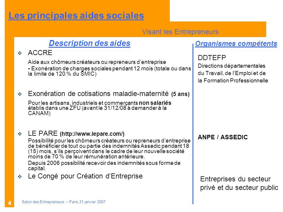 Description des aides Organismes compétents Salon des Entrepreneurs – Paris 31 janvier 2007 4 DDTEFP Directions départementales du Travail, de lEmploi