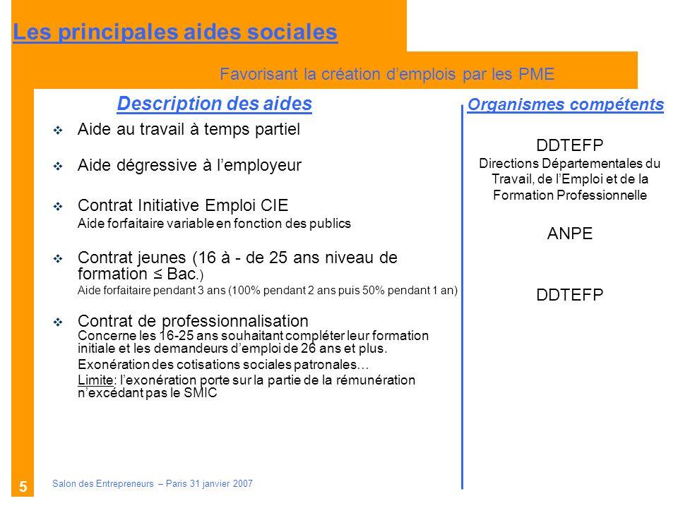 Description des aides Organismes compétents Salon des Entrepreneurs – Paris 31 janvier 2007 5 Aide au travail à temps partiel Aide dégressive à lemplo