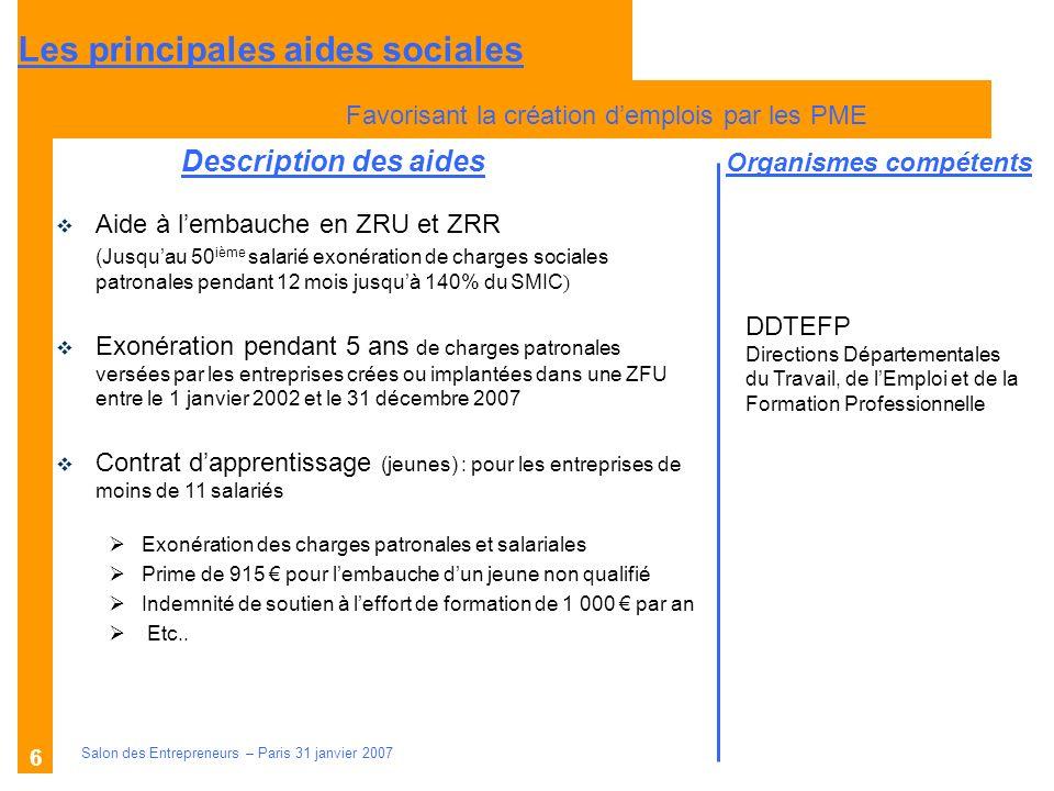 Description des aides Organismes compétents Salon des Entrepreneurs – Paris 31 janvier 2007 6 Aide à lembauche en ZRU et ZRR (Jusquau 50 ième salarié