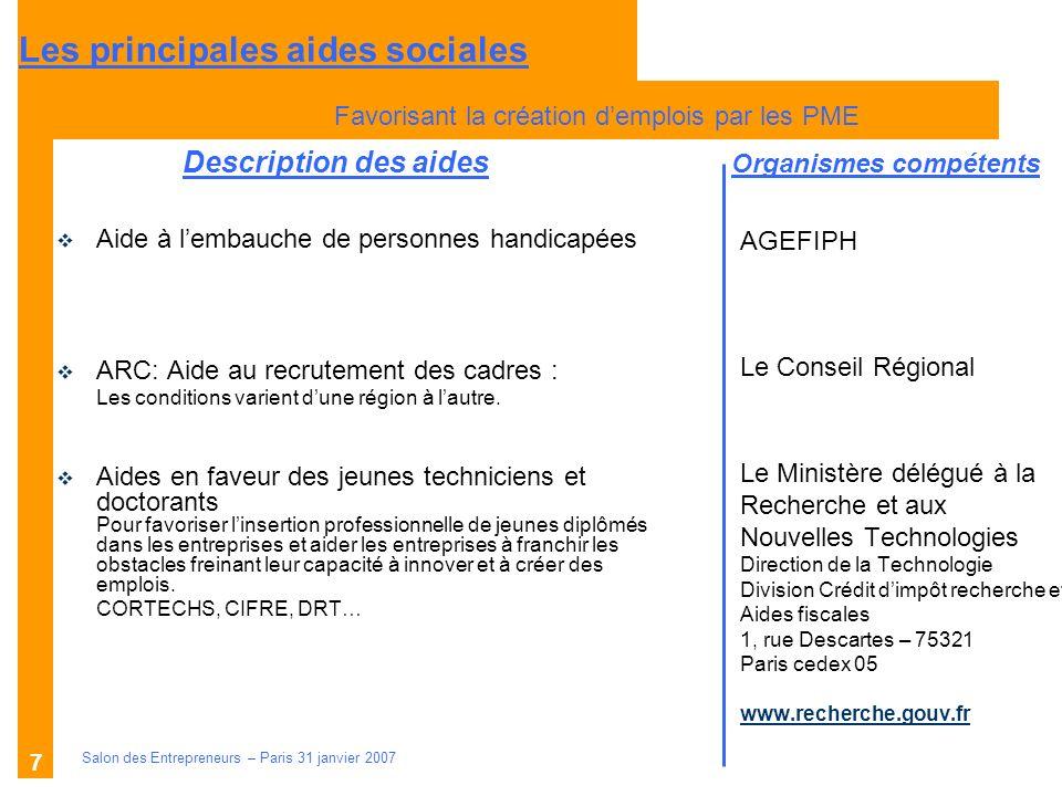 Description des aides Organismes compétents Salon des Entrepreneurs – Paris 31 janvier 2007 7 AGEFIPH Le Conseil Régional Le Ministère délégué à la Re