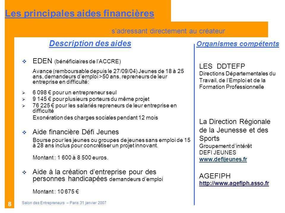 Description des aides Organismes compétents Salon des Entrepreneurs – Paris 31 janvier 2007 8 LES DDTEFP Directions Départementales du Travail, de lEm