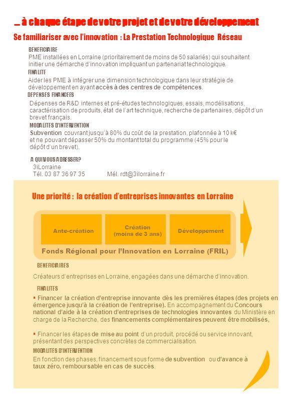 Un dispositif de soutien global à linnovation… Le soutien à la recherche industrielle Recherche Industrielle FaisabilitéDéveloppement Lancement Industriel et commercial Fonds Régional pour lInnovation en Lorraine (FRIL) BENEFICIAIRES Entreprises installées en Lorraine et engagées dans une démarche de recherche.