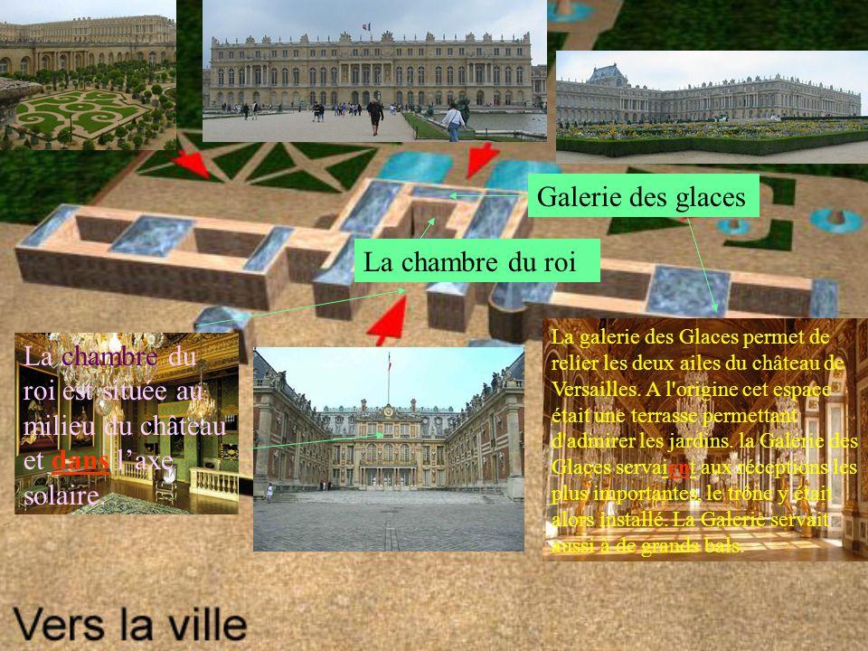 La chambre du roi Galerie des glaces La galerie des Glaces permet de relier les deux ailes du château de Versailles.