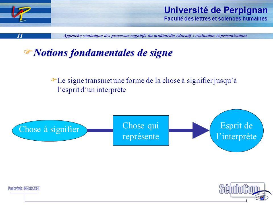 Université de Perpignan Faculté des lettres et sciences humaines 11 Approche sémiotique des processus cognitifs du multimédia éducatif : évaluation et