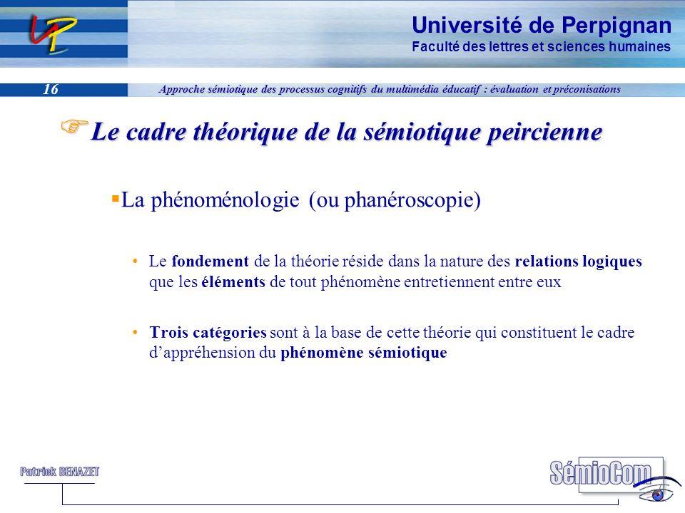 Université de Perpignan Faculté des lettres et sciences humaines 16 Approche sémiotique des processus cognitifs du multimédia éducatif : évaluation et