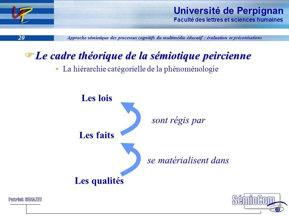 Université de Perpignan Faculté des lettres et sciences humaines 20 Approche sémiotique des processus cognitifs du multimédia éducatif : évaluation et