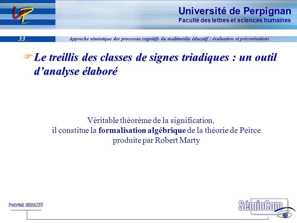 Université de Perpignan Faculté des lettres et sciences humaines 33 Approche sémiotique des processus cognitifs du multimédia éducatif : évaluation et