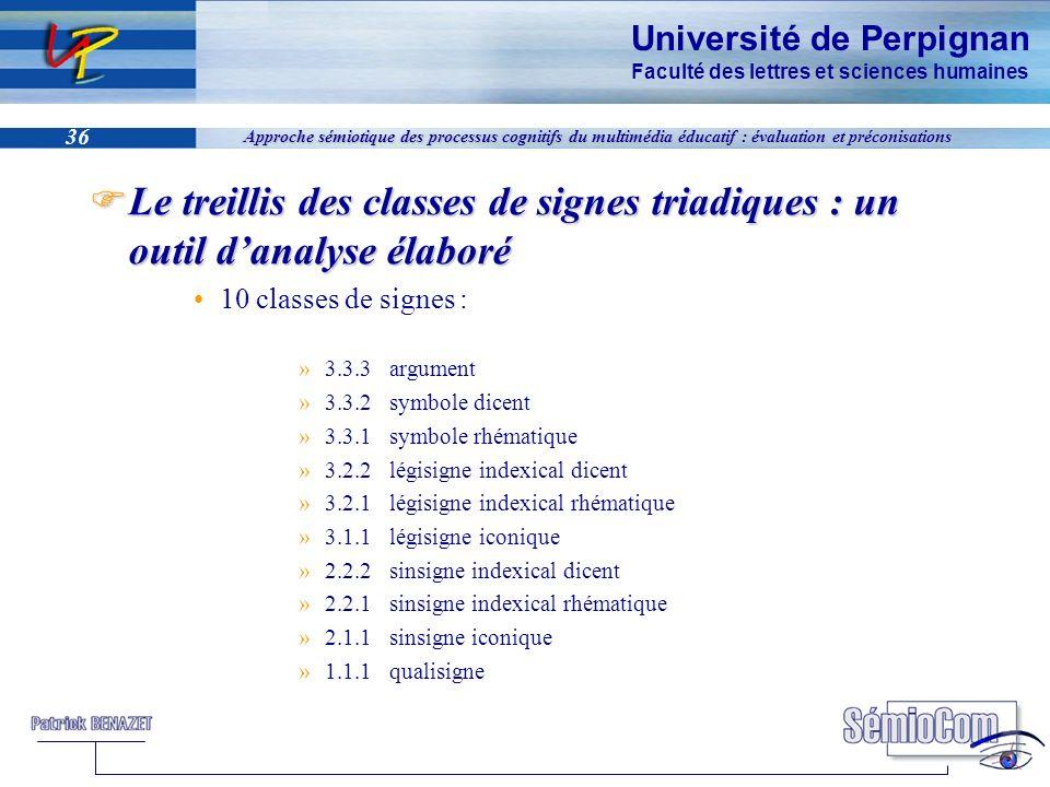 Université de Perpignan Faculté des lettres et sciences humaines 36 Approche sémiotique des processus cognitifs du multimédia éducatif : évaluation et