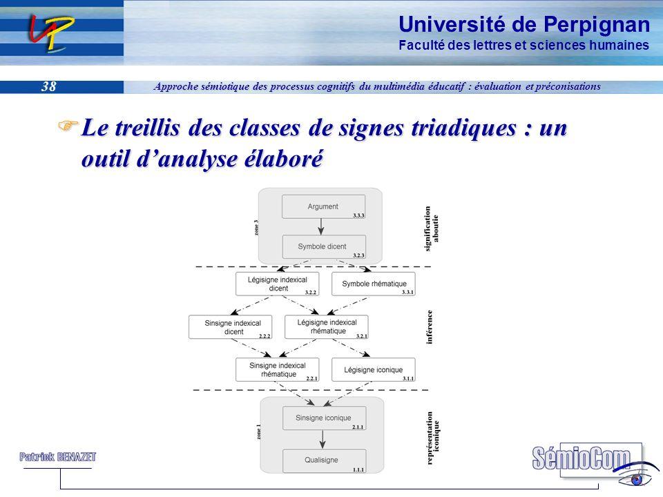 Université de Perpignan Faculté des lettres et sciences humaines 38 Approche sémiotique des processus cognitifs du multimédia éducatif : évaluation et