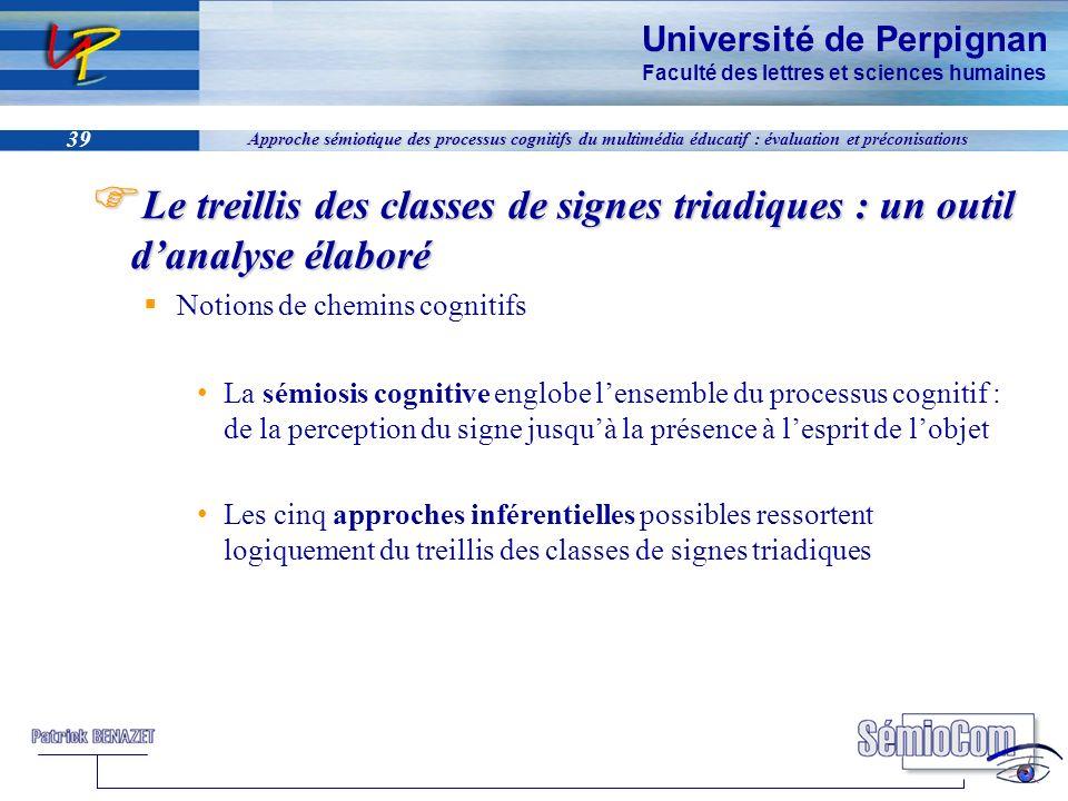 Université de Perpignan Faculté des lettres et sciences humaines 39 Approche sémiotique des processus cognitifs du multimédia éducatif : évaluation et