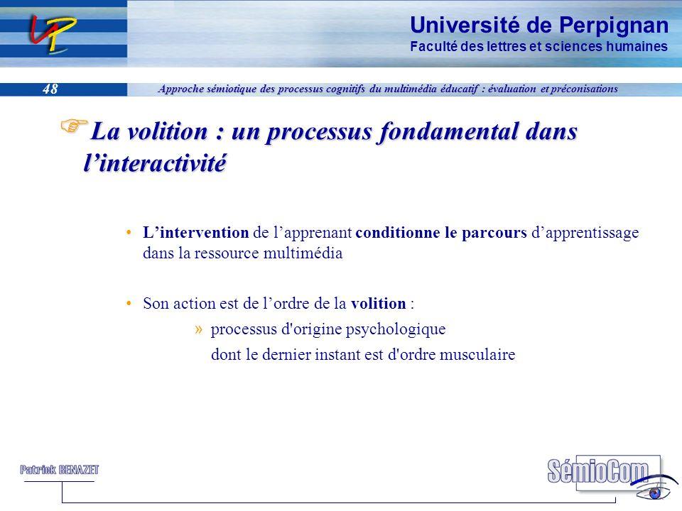 Université de Perpignan Faculté des lettres et sciences humaines 48 Approche sémiotique des processus cognitifs du multimédia éducatif : évaluation et