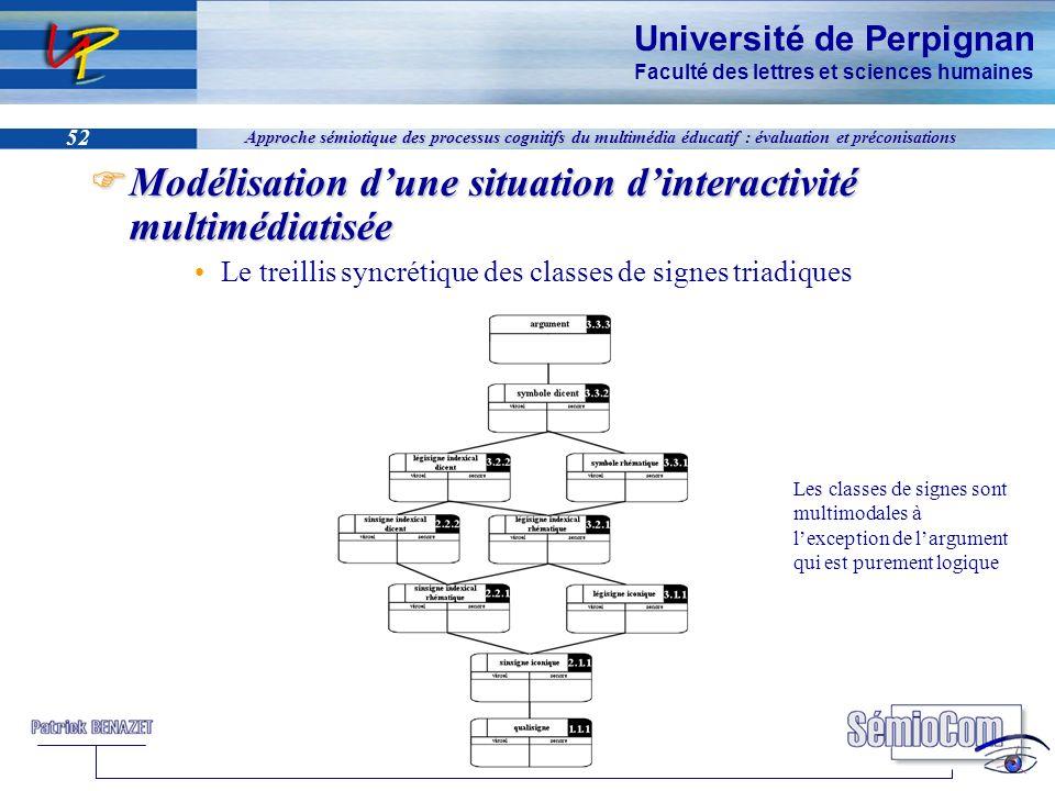 Université de Perpignan Faculté des lettres et sciences humaines 52 Approche sémiotique des processus cognitifs du multimédia éducatif : évaluation et