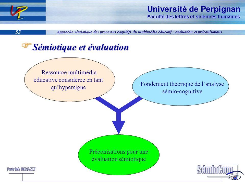 Université de Perpignan Faculté des lettres et sciences humaines 53 Approche sémiotique des processus cognitifs du multimédia éducatif : évaluation et