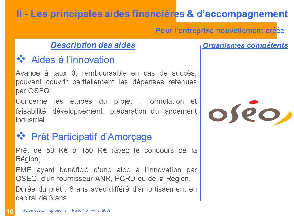 Description des aides Organismes compétents Salon des Entrepreneurs – Paris 4-5 février 2009 10 Aides à linnovation Avance à taux 0, remboursable en cas de succès, pouvant couvrir partiellement les dépenses retenues par OSEO.