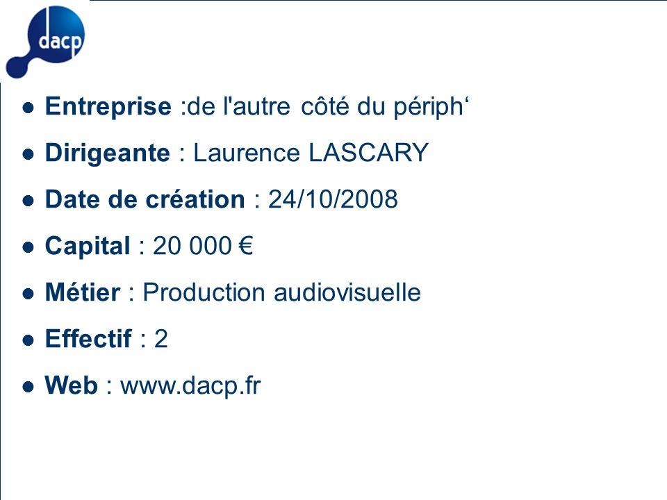 Description des aides Organismes compétents Salon des Entrepreneurs – Paris 4-5 février 2009 24 Entreprise :de l autre côté du périph Dirigeante : Laurence LASCARY Date de création : 24/10/2008 Capital : 20 000 Métier : Production audiovisuelle Effectif : 2 Web : www.dacp.fr