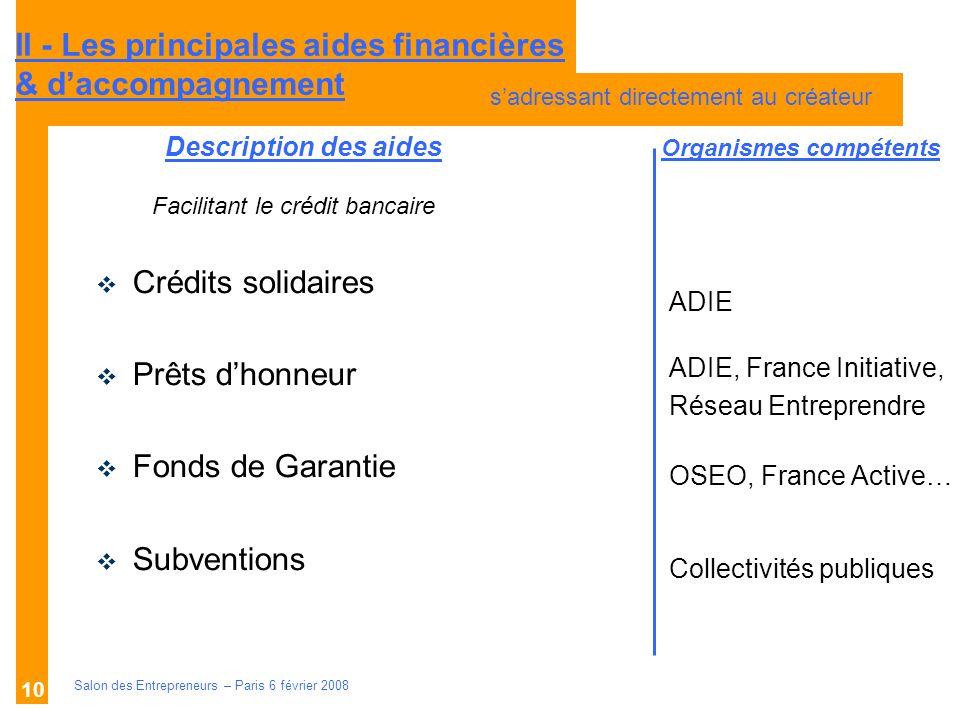 Description des aides Organismes compétents Salon des Entrepreneurs – Paris 6 février 2008 10 ADIE ADIE, France Initiative, Réseau Entreprendre OSEO,