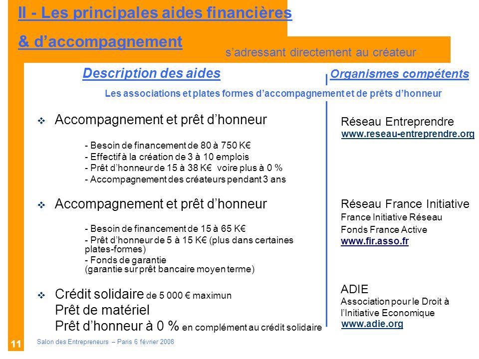Description des aides Organismes compétents Salon des Entrepreneurs – Paris 6 février 2008 11 Réseau Entreprendre www.reseau-entreprendre.org Réseau F