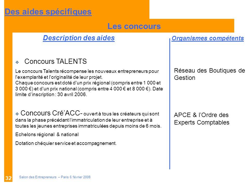 Description des aides Organismes compétents Salon des Entrepreneurs – Paris 6 février 2008 32 Les concours Réseau des Boutiques de Gestion APCE & lOrd