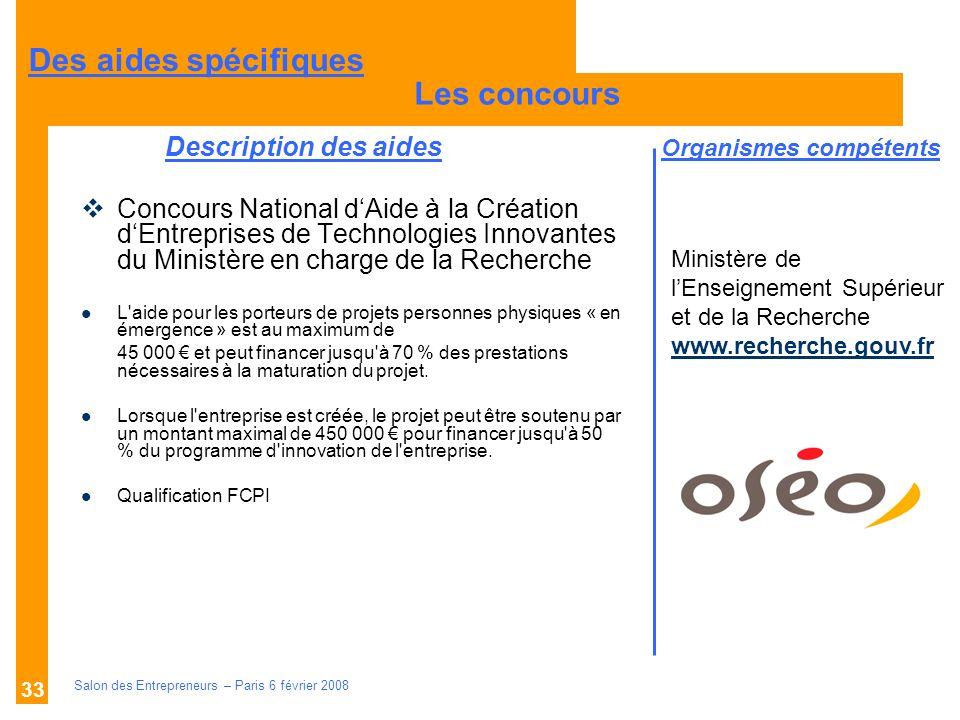 Description des aides Organismes compétents Salon des Entrepreneurs – Paris 6 février 2008 33 Concours National dAide à la Création dEntreprises de Te