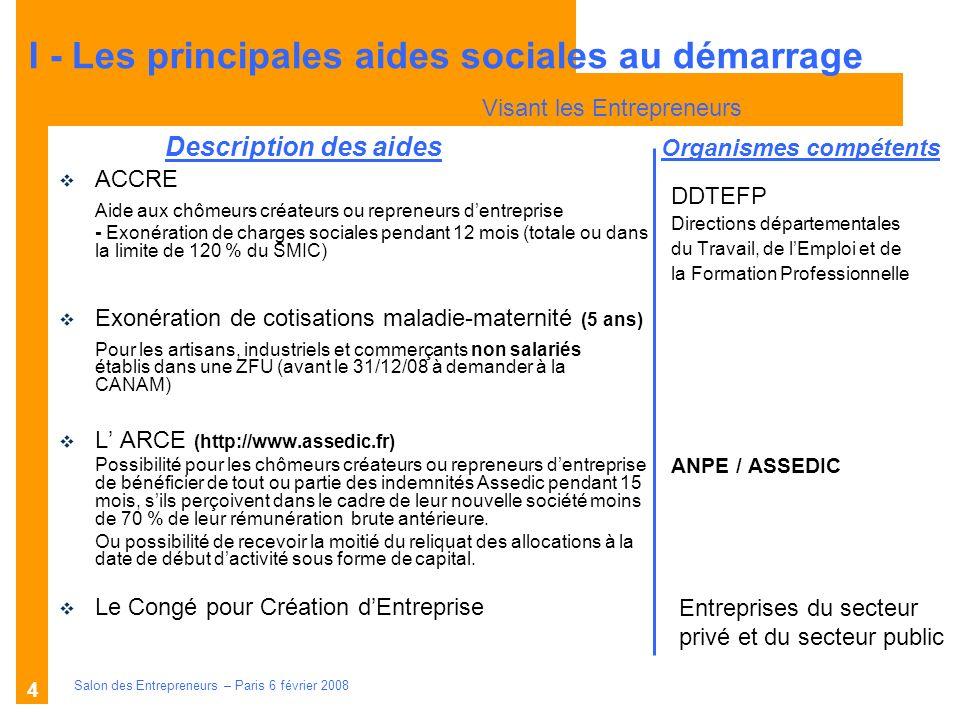 Description des aides Organismes compétents Salon des Entrepreneurs – Paris 6 février 2008 4 DDTEFP Directions départementales du Travail, de lEmploi