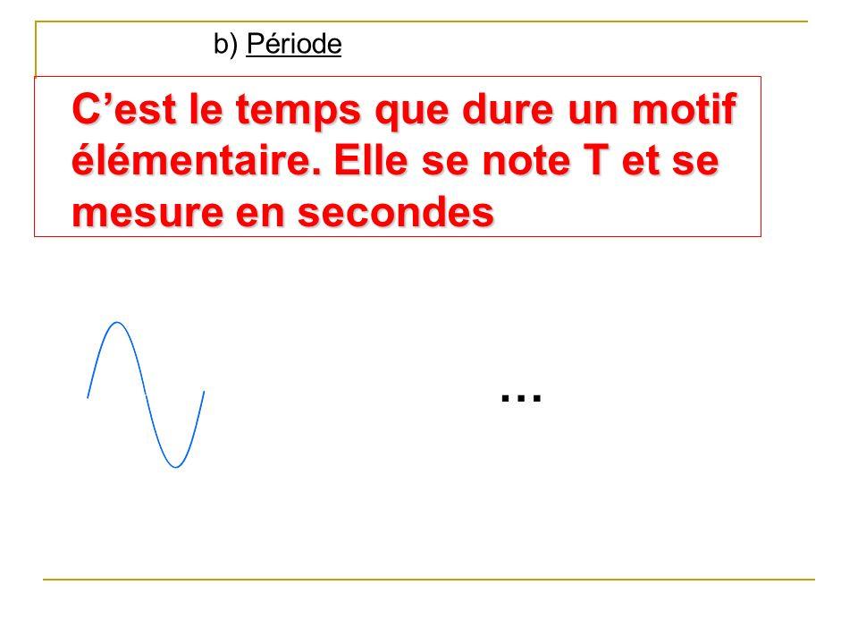 b) Période Cest le temps que dure un motif élémentaire. Elle se note T et se mesure en secondes …