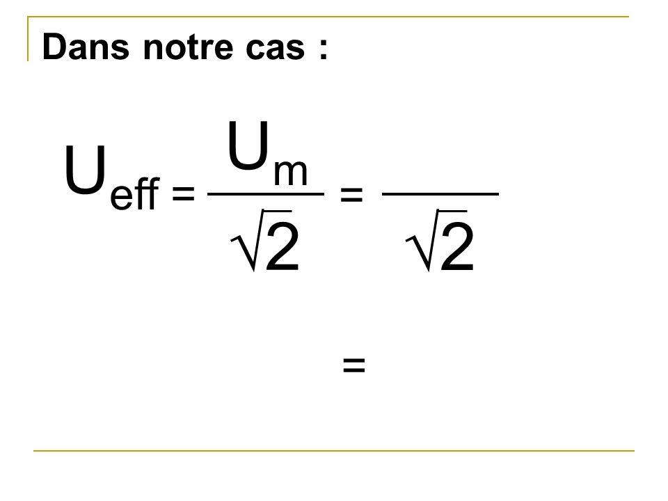 Dans notre cas : U eff = UmUm 2 2 = =